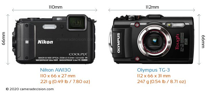 Nikon AW130 vs Olympus TG-3 Camera Size Comparison - Front View