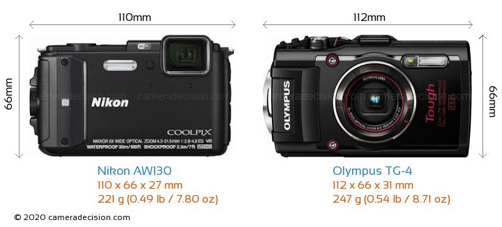Nikon AW130 vs Olympus TG-4 Camera Size Comparison - Front View