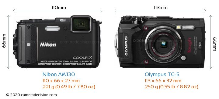 Nikon AW130 vs Olympus TG-5 Camera Size Comparison - Front View