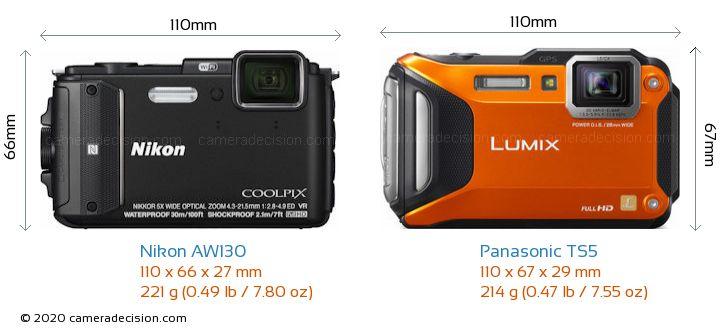 Nikon AW130 vs Panasonic TS5 Camera Size Comparison - Front View