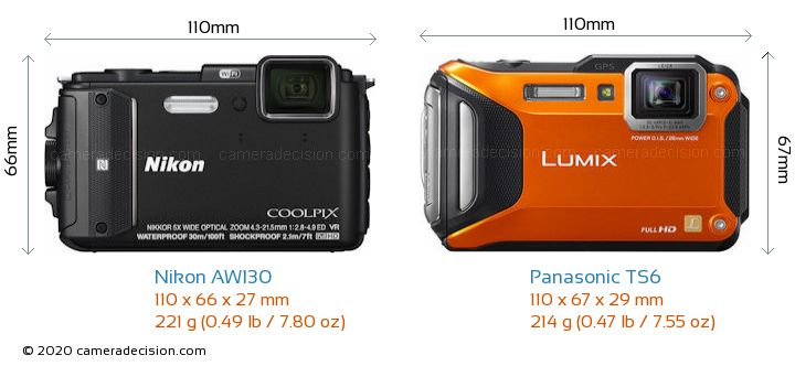 Nikon AW130 vs Panasonic TS6 Camera Size Comparison - Front View