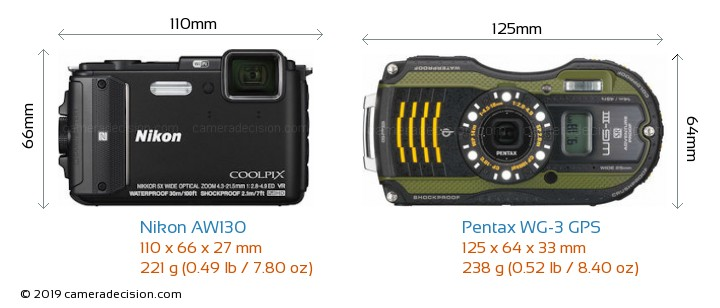 Nikon AW130 vs Pentax WG-3 GPS Camera Size Comparison - Front View