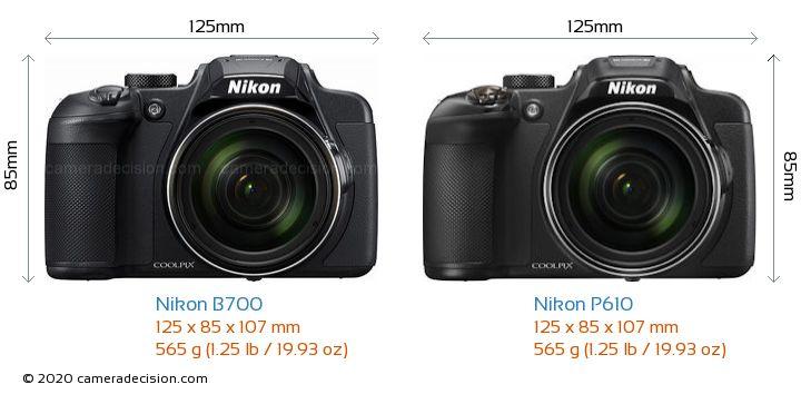 Nikon B700 vs Nikon P610 Camera Size Comparison - Front View