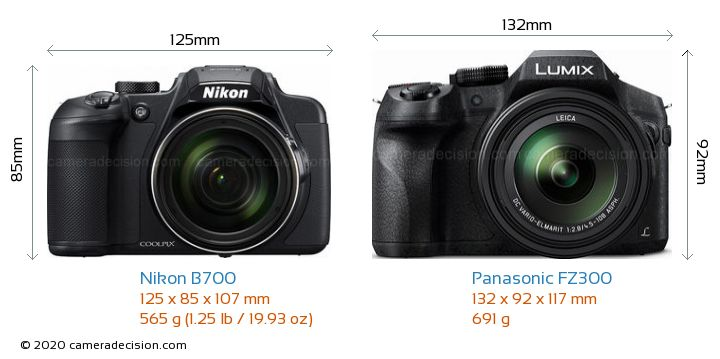 Nikon B700 vs Panasonic FZ300 Camera Size Comparison - Front View