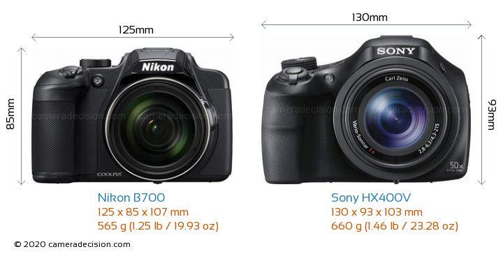 Nikon B700 vs Sony HX400V Camera Size Comparison - Front View