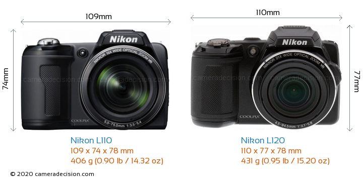 Nikon L110 vs Nikon L120 Camera Size Comparison - Front View