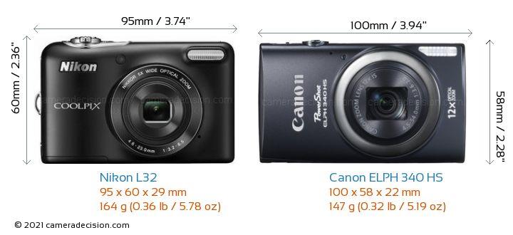 Nikon L32 vs Canon ELPH 340 HS Camera Size Comparison - Front View