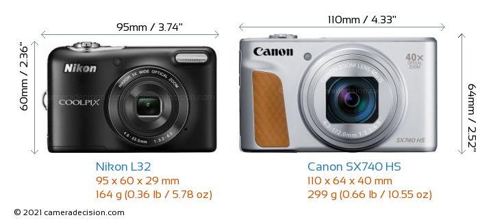Nikon L32 vs Canon X740 HS Camera Size Comparison - Front View
