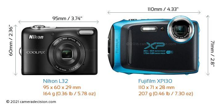 Nikon L32 vs Fujifilm XP130 Camera Size Comparison - Front View