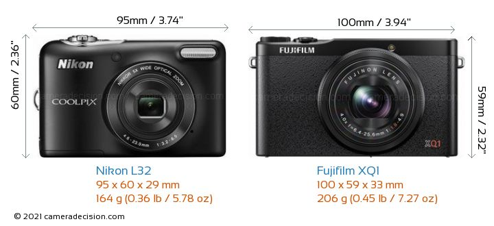 Nikon L32 vs Fujifilm XQ1 Camera Size Comparison - Front View