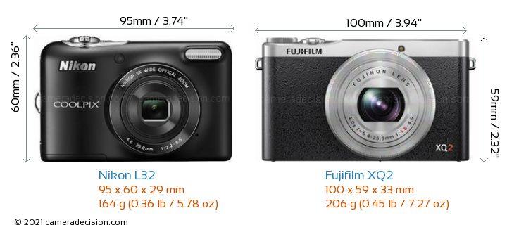 Nikon L32 vs Fujifilm XQ2 Camera Size Comparison - Front View