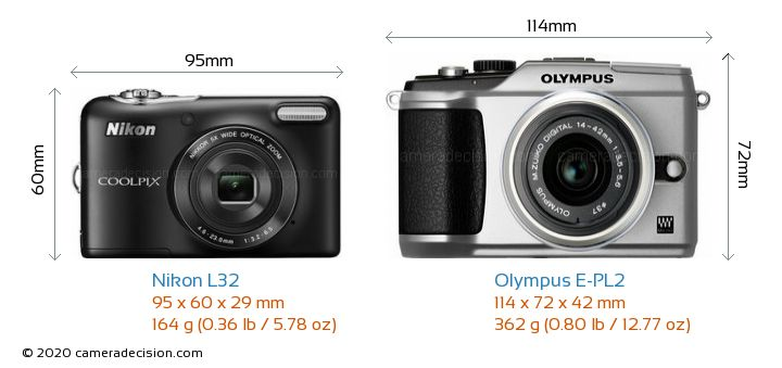 Nikon L32 vs Olympus E-PL2 Camera Size Comparison - Front View