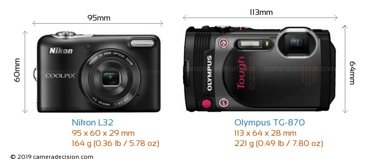 Nikon L32 vs Olympus TG-870 Camera Size Comparison - Front View
