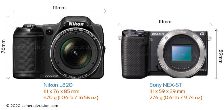 Nikon L820 vs Sony NEX-5T Camera Size Comparison - Front View