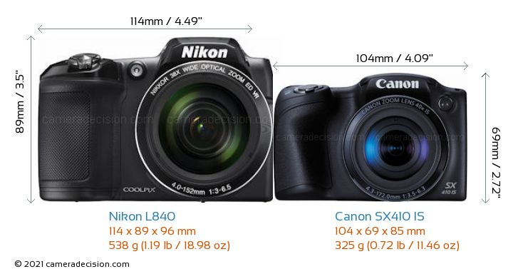 Nikon L840 vs Canon SX410 IS Camera Size Comparison - Front View
