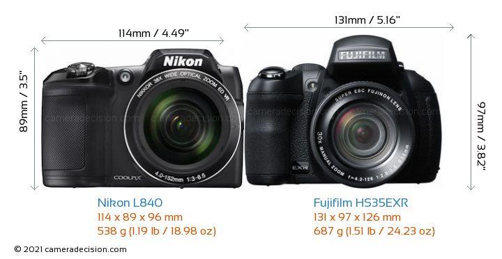 Nikon L840 vs Fujifilm HS35EXR Camera Size Comparison - Front View