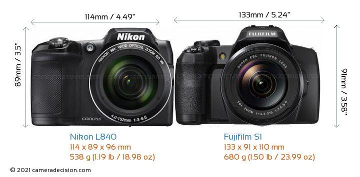 Nikon L840 vs Fujifilm S1 Camera Size Comparison - Front View