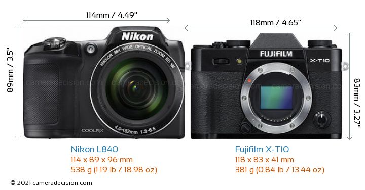 Nikon L840 vs Fujifilm X-T10 Camera Size Comparison - Front View