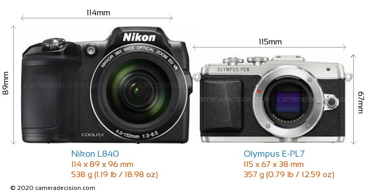 Nikon L840 vs Olympus E-PL7 Camera Size Comparison - Front View