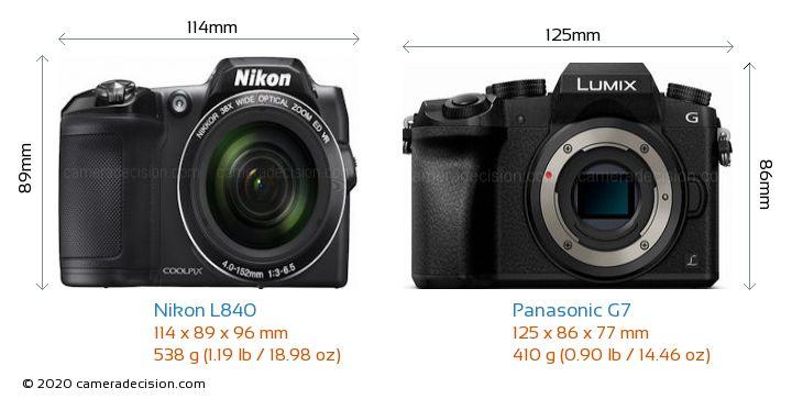 Nikon L840 vs Panasonic G7 Camera Size Comparison - Front View