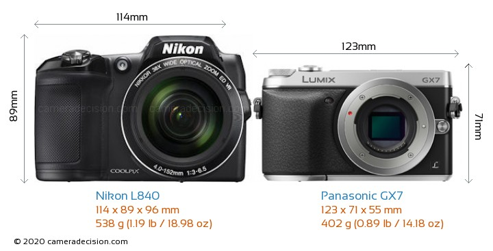 Nikon L840 vs Panasonic GX7 Camera Size Comparison - Front View