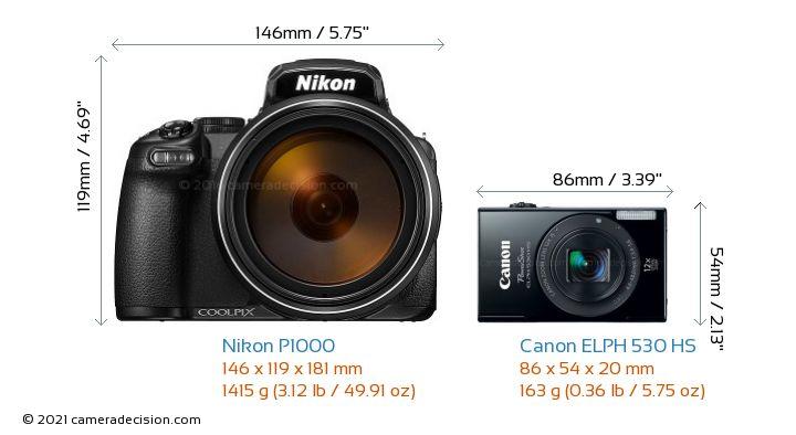 Nikon P1000 vs Canon ELPH 530 HS Camera Size Comparison - Front View