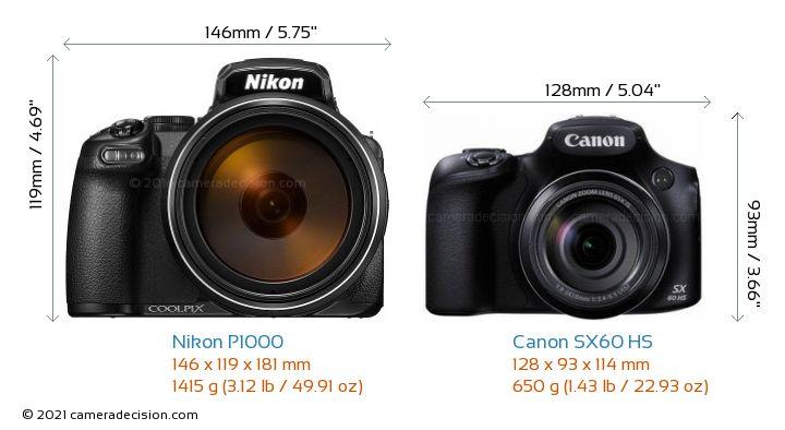 Nikon P1000 vs Canon SX60 HS Camera Size Comparison - Front View