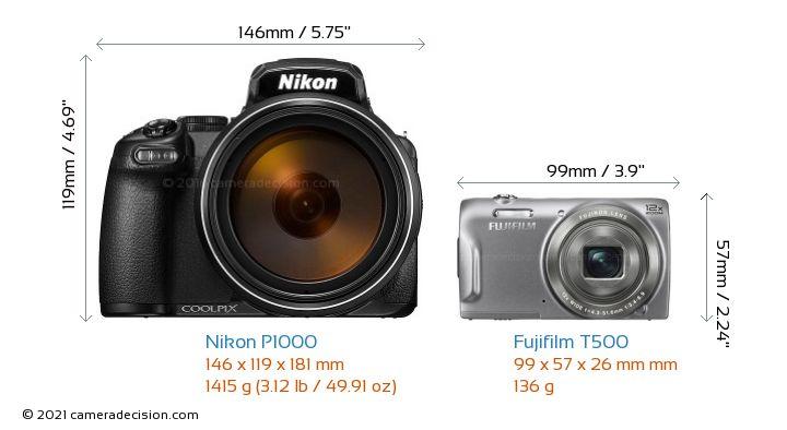 Nikon P1000 vs Fujifilm T500 Camera Size Comparison - Front View