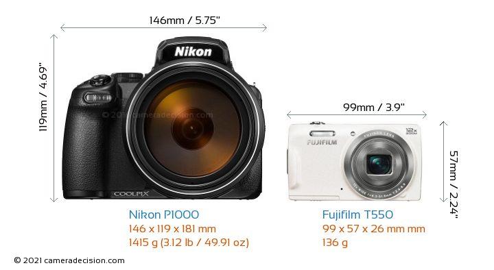 Nikon P1000 vs Fujifilm T550 Camera Size Comparison - Front View