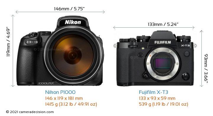 Nikon P1000 vs Fujifilm X-T3 Camera Size Comparison - Front View