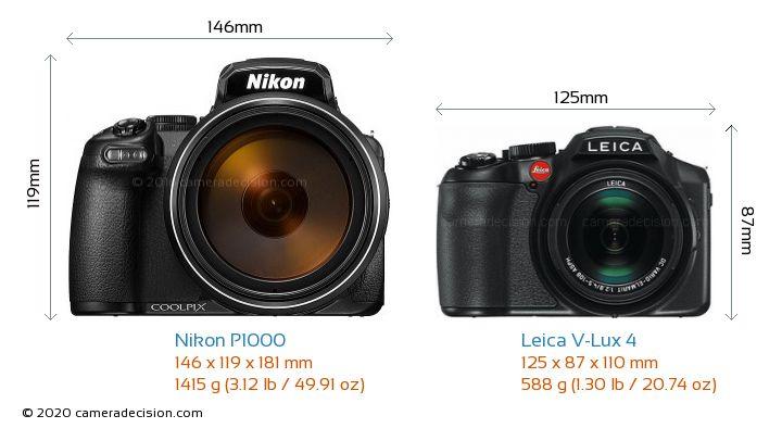 Nikon P1000 vs Leica V-Lux 4 Camera Size Comparison - Front View