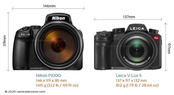 Nikon P1000 vs Leica V-Lux 5 Camera Size Comparison - Front View