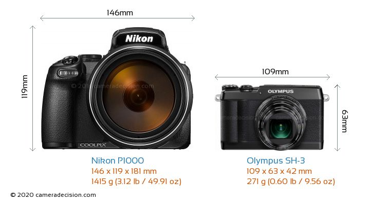 Nikon P1000 vs Olympus SH-3 Camera Size Comparison - Front View