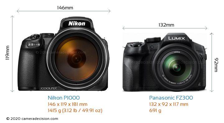 Nikon P1000 vs Panasonic FZ300 Camera Size Comparison - Front View