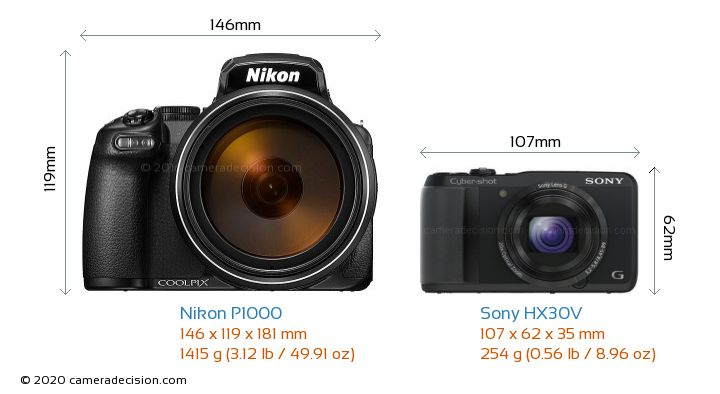Nikon P1000 vs Sony HX30V Camera Size Comparison - Front View