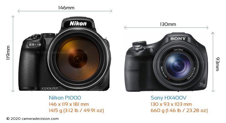 Nikon P1000 vs Sony HX400V Camera Size Comparison - Front View