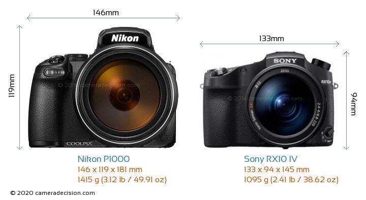 Nikon P1000 vs Sony RX10 IV Camera Size Comparison - Front View
