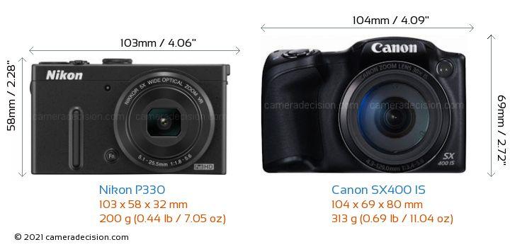 Nikon P330 vs Canon SX400 IS Camera Size Comparison - Front View