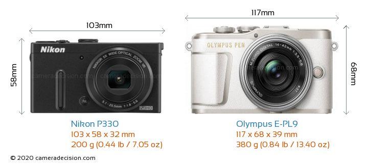 Nikon P330 vs Olympus E-PL9 Camera Size Comparison - Front View