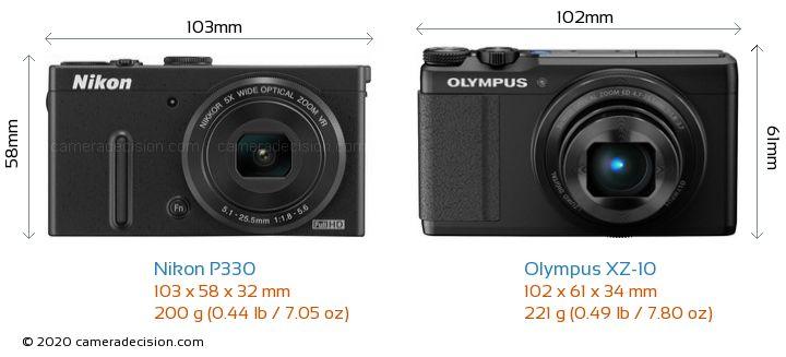 Nikon P330 vs Olympus XZ-10 Camera Size Comparison - Front View