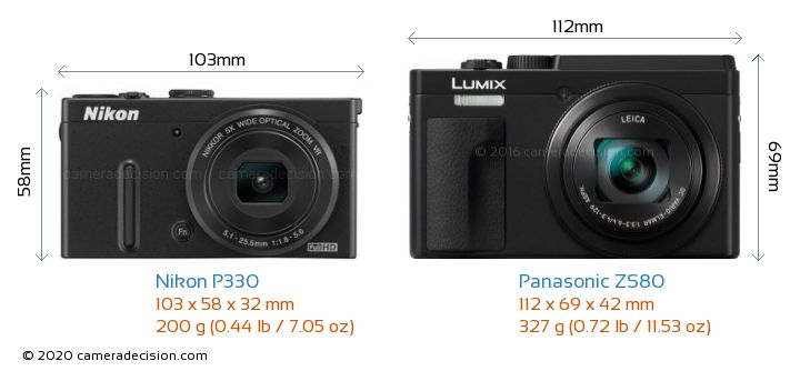 Nikon P330 vs Panasonic ZS80 Camera Size Comparison - Front View