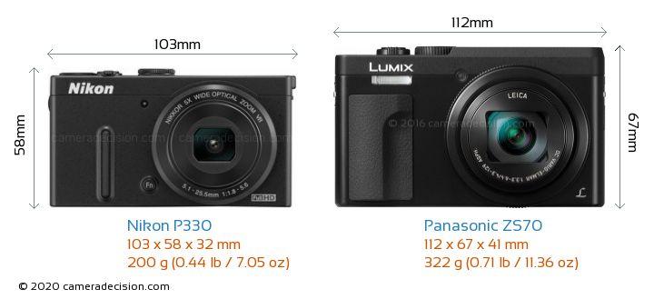 Nikon P330 vs Panasonic ZS70 Camera Size Comparison - Front View