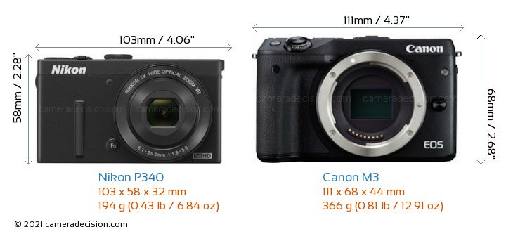 Nikon P340 vs Canon M3 Camera Size Comparison - Front View