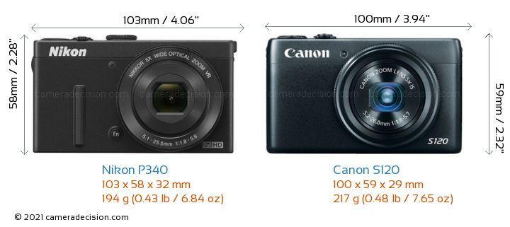 Nikon P340 vs Canon S120 Camera Size Comparison - Front View