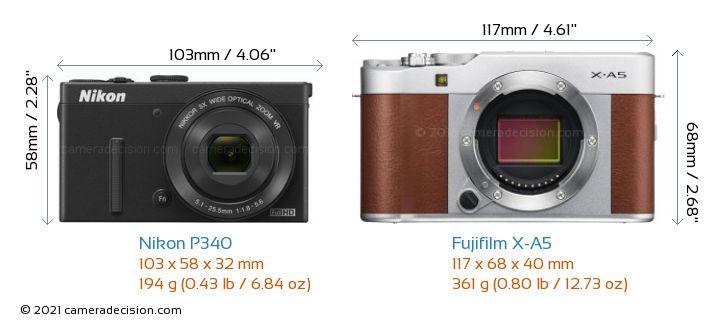 Nikon P340 vs Fujifilm X-A5 Camera Size Comparison - Front View