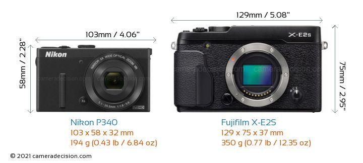 Nikon P340 vs Fujifilm X-E2S Camera Size Comparison - Front View