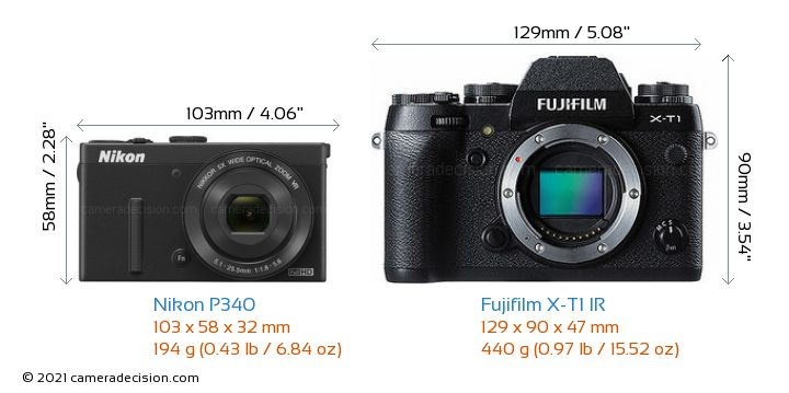 Nikon P340 vs Fujifilm X-T1 IR Camera Size Comparison - Front View