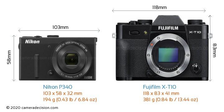 Nikon P340 vs Fujifilm X-T10 Camera Size Comparison - Front View