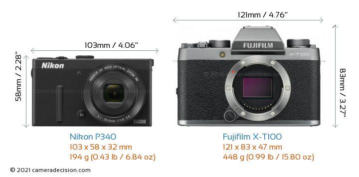 Nikon P340 vs Fujifilm X-T100 Camera Size Comparison - Front View