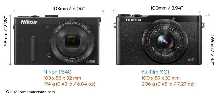 Nikon P340 vs Fujifilm XQ1 Camera Size Comparison - Front View